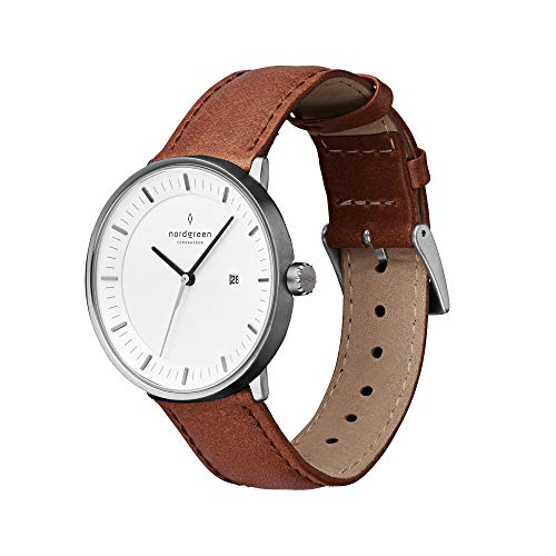 【セット】Nordgreen[ノードグリーン] 【Philosopher】 ガンメタル色の36mm北欧デザイン腕時計と付け替え可能なベルト3本・ブラウンとブラックレザー とガンメタルメッシュ