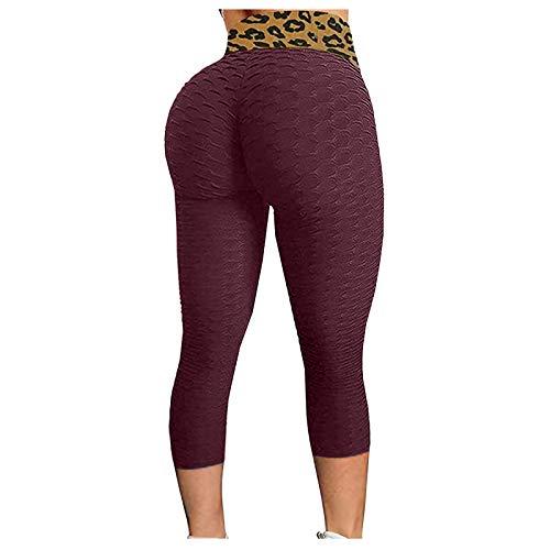 Mallas de Nido de Abeja para Mujer Pantalones de Yoga de Cintura Alta con Control de la Barriga Mallas Deportivas para Gimnasio, Azul Marino y Blanco, L