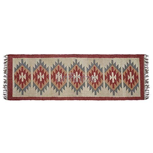 iiinfinize Alfombra de yute de lana estilo vintage turco Kilim Runner 2 x 6 pies, alfombra rústica de yute tradicional vintage decorativa Kilim Runner étnica alfombra de piso