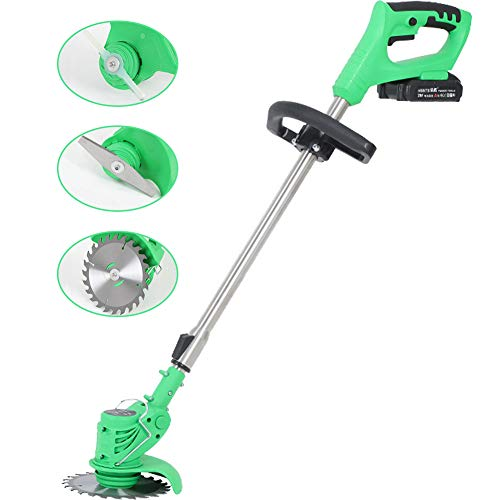 Read About MOCOHANA 21V Cordless Grass Trimmer with Steel Blades Mini Mower Weed Wacker Battery & Ch...