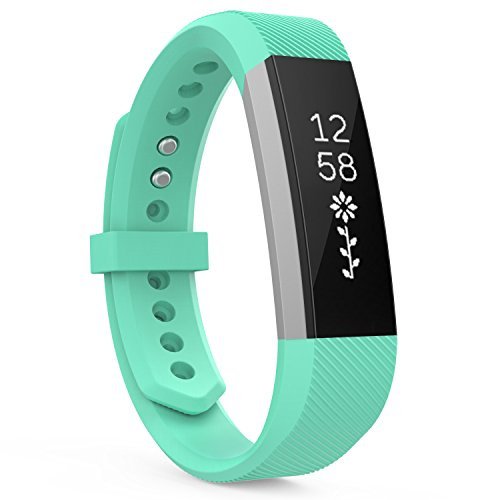 "MoKo Fitbit Alta HR and Alta Band, Classic Replacement Soft Wristband Strap with Metal Clasp for Fitbit Alta/Fitbit Alta HR Smart Fitness Tracker, Fits 5.31""-8.07"" (135mm-205mm) Wrist, Mint Green"