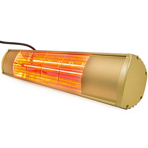 XtremepowerUS 96950 1500 Watt Wall-Mounted Infrared Electric Outdoor Patio Heater, Gold