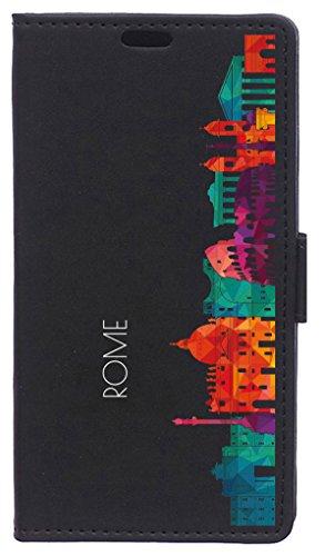 BeCool Funda Libro para Xiaomi Mi6 Plus- Carcasa con función Soporte, Ranuras para tarjetes y Billetes, Diseño Horizonte Roma
