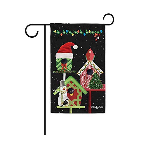 FJXXM Home Flag,Vrolijke Kerstversieringen Vogel Sneeuwman Decoratieve Tuin Vlag Vogelhuis Winter Sneeuw Decor Banner voor Buiten 30 X 45 CM Dubbelzijdig