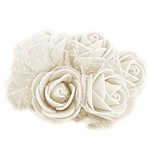 lujiaoshout 50Pcs Artificielle Rose capitules Soie Rose Fleur Rose Simulation Têtes de soirée de Mariage Décoration - Lait Blanc