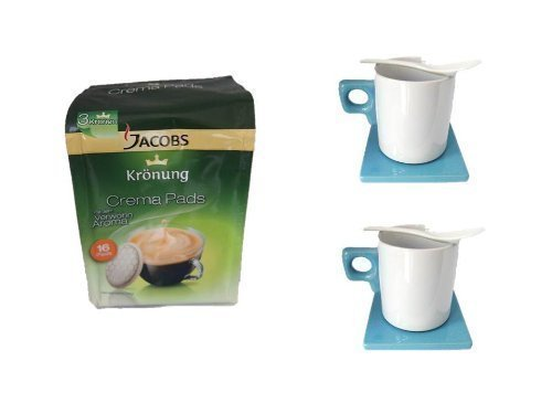 Jacobs Krönung Pads Klassisch 1 Pack. + 2 Keramiktassen mit Keramiklöffel und Keramik Unterteller