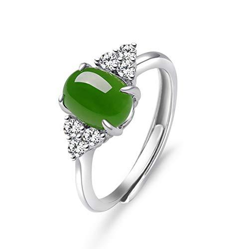 HSUMING Anillo de Piedras Preciosas Verdes para Mujer, Moda 925 Anillo de Jade Oval Verde Plata, Anillo Abierto
