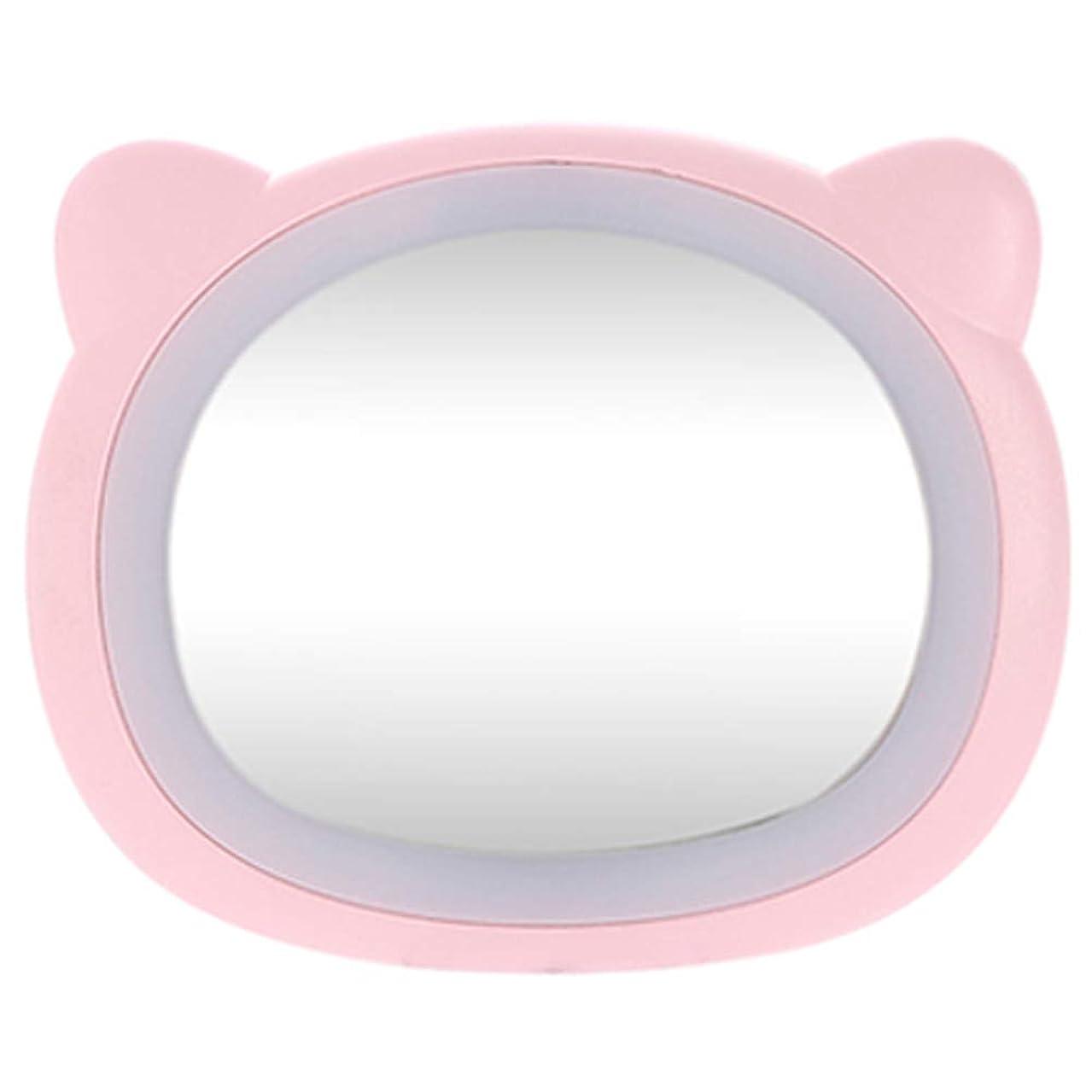 機転惨めな専門HOIBAI 化粧鏡 LEDライト付き 浴室鏡 化粧ミラー 女優ミラー ハンドヘルド 化粧 クリエイティブ 女の子の誕生日プレゼント ハンドミラ ポータブルミラー 可愛い携帯? USB給電 メイクミラー プレゼント 持ち運び安い (熊ピンク)