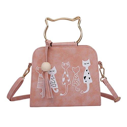 QinMM Tier Messenger Bag Frauen Handtaschen Katze Kaninchen Muster Schulter Umhängetasche Kosmetiktasche Kleine Mode Schwarz Grau Rosa (Rosa)