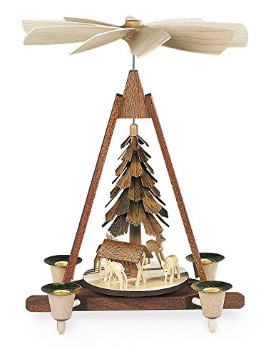 Price comparison product image Mueller Christmas Pyramid Feeding Deer,  Hand-carved,  30cm / 12in