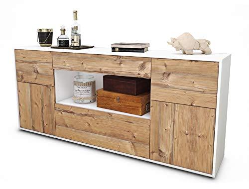 Stil.Zeit Sideboard Fabiola/Korpus Weiss matt/Front Holz-Design Pinie (180x79x35cm) Push-to-Open Technik & Leichtlaufschienen