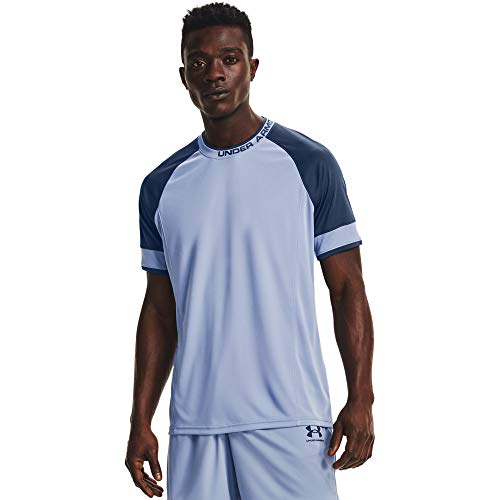 Under Armour Challenger III Training Top Transpirable para Hacer Deporte, Camiseta para Hombre, Azul (Washed Blue/Admiral/Washed Blue), S