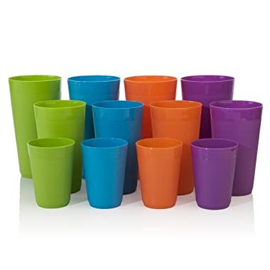 US Acrylic 12-Piece Newport Unbreakable Plastic Tumblers | four each 10-ounce, 20-ounce, and 32-ounce in 4 Tropical Colors