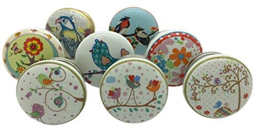 G Decor, set di 8 pomelli in ceramica con motivo uccelli e giardino, stile vintage e shabby chic, per cassetti e armadi