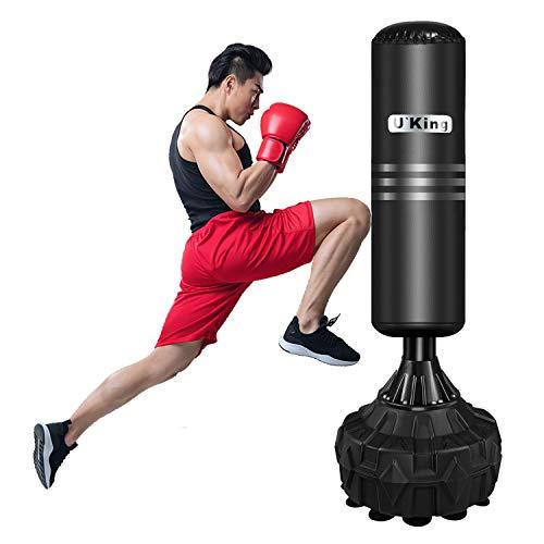 UKing 170cm Saco de Boxeo de Pie con 80L de Gran Capacidad Base, Sacos de Suelo Resistente con Columna de Rebote de 360 ° para Artes Marciales Mixtas, Equipo de Entrenamiento de Gimnasio en Casa