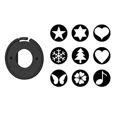perfk 52mm Star Kit Effetti Speciali Bokeh Filtro Spot Card con 9 Motivi Fiore Musica Cuore Fiocco di Neve Farfalla E Copriobiettivo