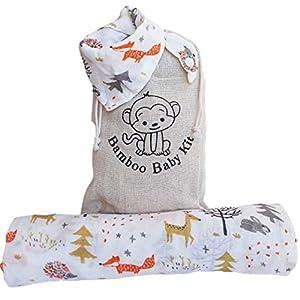 Mussole – Manta de muselina para bebé de algodón de bambú, 120 x 120 cm + babero Bandana + pañuelos. Idea regalo para la…