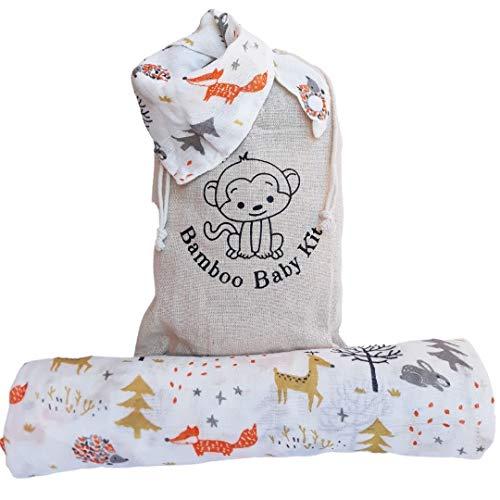 Mussole - Manta de muselina para bebé de algodón de bambú, 120 x 120 cm + babero Bandana + pañuelos. Idea regalo para la lista de nacimientos, sábanas para bebé, ecológicas y transpirables (Bosco))