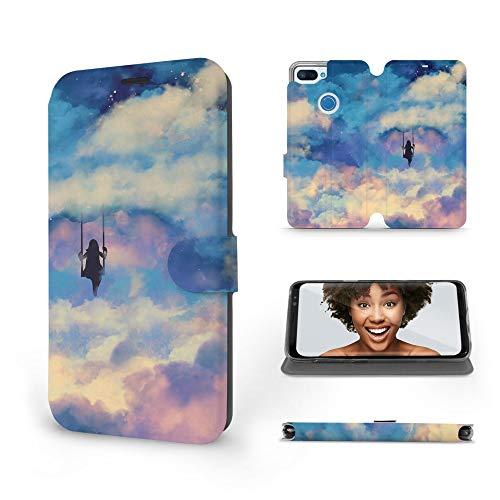Mobiwear | Slim FLIP Hülle | Kompatibel mit Xiaomi Mi 8 Lite, Made in EU handyhülle, Premium Schutzhülle, Transparent TPU Silicon, Book Style Hülle, Tasche - Schaukel in den Wolken