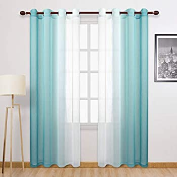 DWCN Teal Ombre Sheer Curtains - Faux Linen Gradient Semi Voile Grommet Top Bedroom and Living Room Curtains Set of 2 Window Curtain Panels 52 x 96 Inches Long