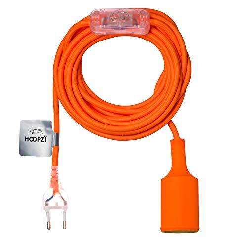 Hoopzi - Bala Fun - Fassung e27 mit Kabel - Lampenfassung e27 mit Kabel und Schalter - Textilkabel mit Fassung - Lampenkabel - Pendelleuchte - 4,5 Meter - 36 Fraben - Orange