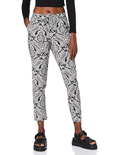ONLY Damen Onlnova Life Pant AOP WVN 11 Hose, Cloud Dancer/AOP:Black Paisley, 36