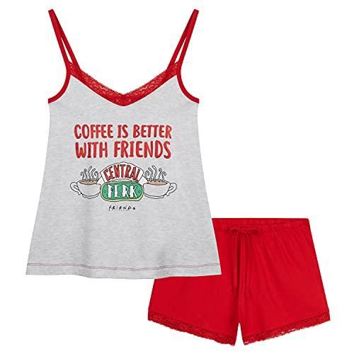 FRIENDS Pijama Verano Mujer, Pijamas Mujer Verano De Algodón, Ropa Mujer S - XL (Gris/Rojo, S)