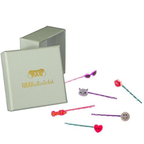 Pinzas de pelo, de 6piezas Bobby Pins Juego gato # SELFIE Corazón emoticón Emoji Labios Beso Gafas de sol para niños en caja blanca de pelo todos los liebst