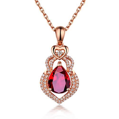 Daesar Collane Oro Rosa 18K 1.08ct Diamante A Goccia Rosso Rubino A Forma di Zucca Pera Collana Donna Ciondolocollana Bambina Amicizia