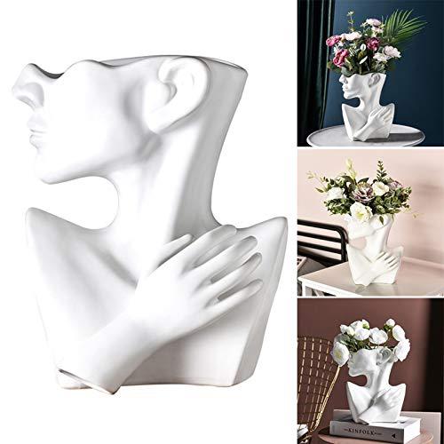 Infilm, vaso in ceramica astratta con testa umana nordica creativa, moderno europeo, per piante grasse a metà corpo, vaso da fiori per la disposizione dei fiori, decorazione per la casa e il soggiorno