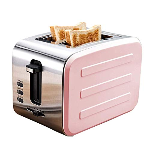 Bread maker 900W Grille-Pain, en Acier Inoxydable Spit Driver, Maison 2 Tranche Petit déjeuner Machine à Pain Machine,Pink