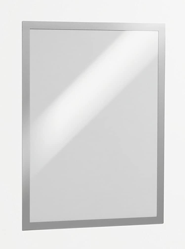 Durable Magaframe Self Adhesive Repositionable Wall Sign A3 - Silver (Packof 2)