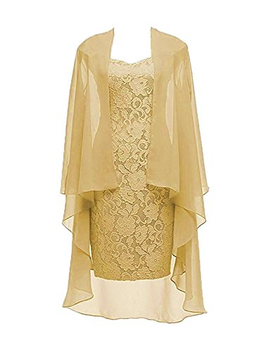 Column 3/4 Sleeves Lace Chiffon Short Wedding Mother Evening Dresses Formal Gold Size 20W