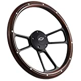 14' Real Mahogany Wood Steering Wheel w/Black Chevy Horn for Chevy C/K Series Truck