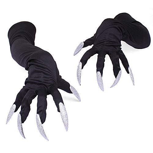 Watenkliy Halloween Handschuhe, Halloween Kostümhandschuhe mit Krallen Halloween Cosplay Golves Einheitsgröße