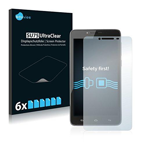 Savvies 6X Schutzfolie kompatibel mit Kazam Trooper 2 (6.0) Bildschirmschutz-Folie Ultra-transparent