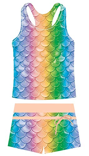 Two Piece Swimsuit for Girls Tankini Bathing Suit Rainbow Fish Scale Tank Top with Shorts Summer Sport Swimwear for 6-7T
