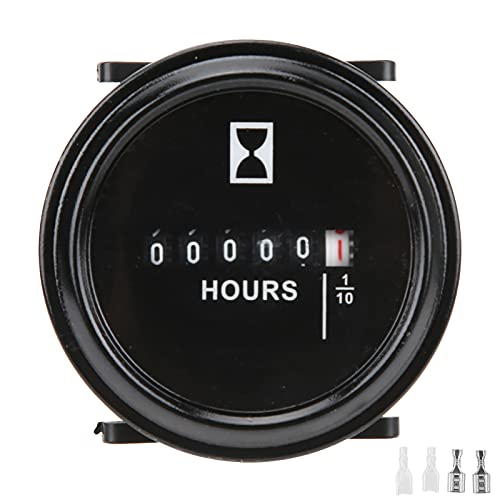 Xuzuyic Medidor de Horas Redondo de 2 Pulgadas, Temporizador mecánico de Repuesto AC/DC 6-80V para generador, Motor de Barco Marino, Tractor de Barco