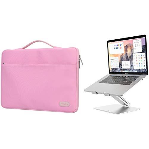ProCase 14-15.6 Inch Laptop Sleeve Case Protective Bag for MacBook Pro 16'/14' 15' 15.6' Dell Lenovo HP Samsung Sony Chromebook Bundle with Metal Laptop Stand, Ergonomic Aluminum Laptop Holder
