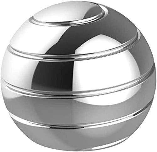 SHAW UROY Kinetic Desk Toys, Full Body Optical Illusion Fidget Spinner Ball, Kidical Illusion Fidget Spinner Ball, Spinner Toys for ADHD & Eliminate Anxiety & Keep Focus & Relaxing (Silver)