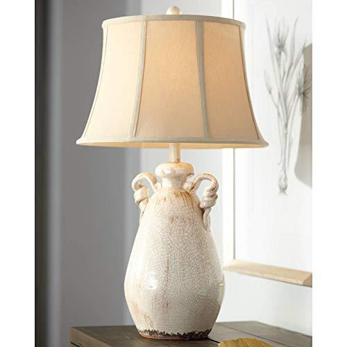 Isabella Cottage Accent Table Lamp Rustic Ivory Ceramic Milk...
