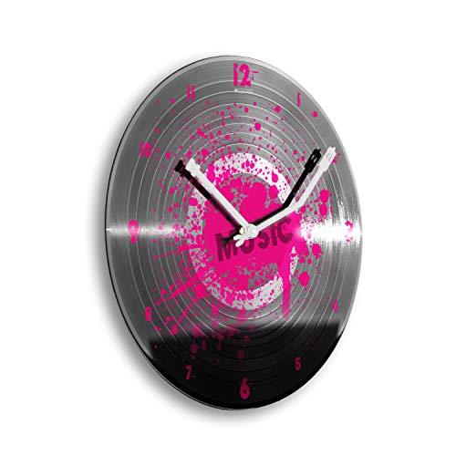Creative Feder Music Pink Klecks Plakplaatklok Retro Vinyl Designer draadloze wandklok stille radioklok zonder tikken 30cm WSP008 leises Quarzuhrwerk roze