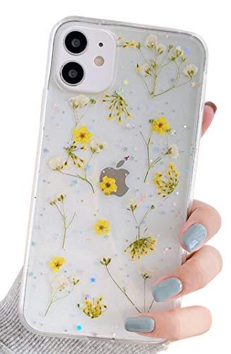 Blingy's iPhone 11 (6,1 Zoll) Hülle, Neue echt schöne gepresste trockene Blume transparent klar weiche TPU Schutzhülle kompatibel für iPhone 11 6,1 Zoll 2019 Release (Kleine Sonnenblume)