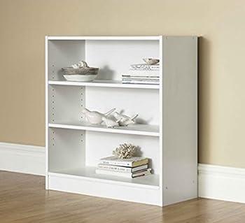 Mainstay. 3-Shelf Bookcase - Wide Bookshelf Storage Wood Furniture 1 Fixed Shelf 2 Adjustable Shelves Bookcase  White