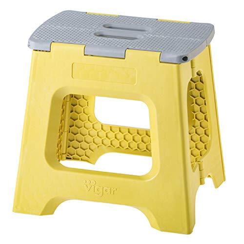 Vigar 8916 Taburete Plegable Compact de Color Mostaza de 32 cm de Altura, Verde y Gris