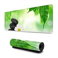 マウスパッド 大型 ゲーミングマウスパッド 緑の庭 白い花かわいい 防水性 耐久性 滑り止め 低反発キーボードパッド 多機能 超大判 30×80cm おしゃれ