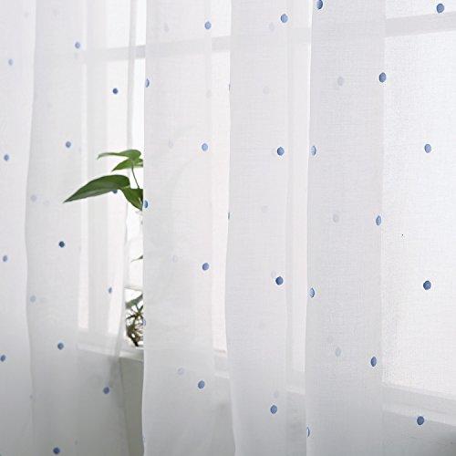 Deconovo Cortinas de Visillos para Ventanas Grandes Cortinas Translúcidas para Dormitorio 2 Piezas 140 x 229 cm Azul