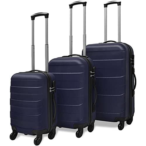 SHUJUNKAIN Set Trolley Maleta Rígida Tres Uds. Azul Maletas y Bolsos de Viaje Maletas Azul