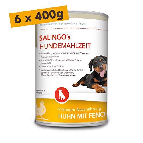 SALiNGO Hundefutter nass, Huhn mit Fenchel und Reis, sensitiv (6x400g)