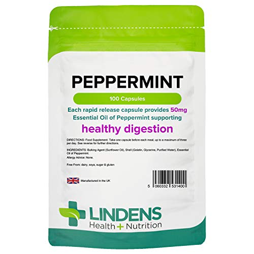Lindens Peppermint Oil 50mg Capsules | 100 Pack | Essential Oil of Peppermint Supporting Healthy Digestion.
